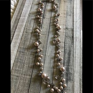 Talbots Grey and Pink Pearl Necklace